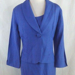 Coldwater Creek 2 Pc Dress Jacket 10 Purple Linen